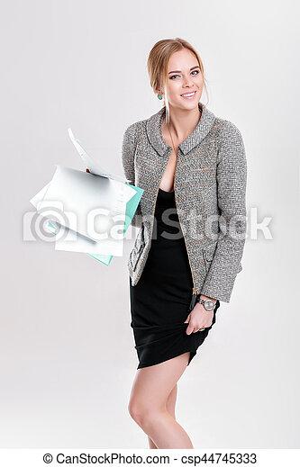 bonito, vestido, negócio mulher, f, casaco, pretas, segurando, loiro - csp44745333