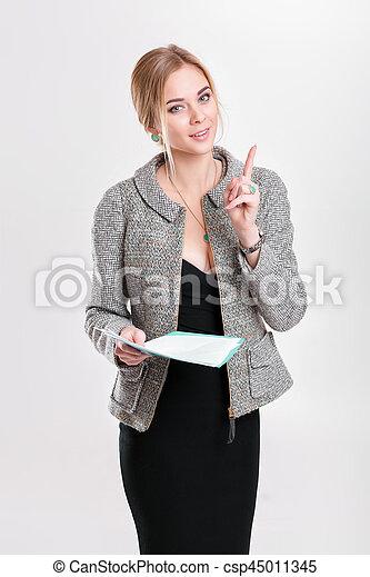 bonito, vestido, negócio mulher, f, casaco, pretas, segurando, loiro - csp45011345
