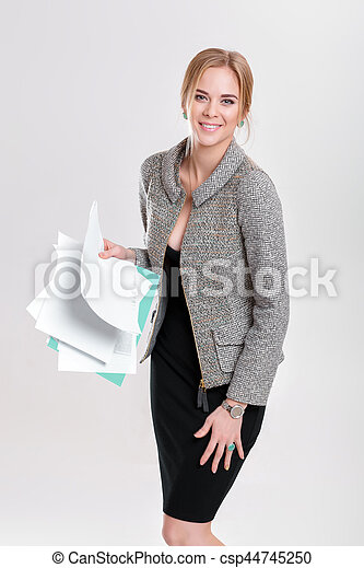 bonito, vestido, negócio mulher, f, casaco, pretas, segurando, loiro - csp44745250