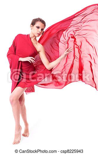 bonito, voando, mulher, vestido, vermelho - csp8225943