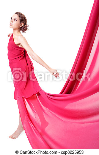 bonito, voando, mulher, vestido, vermelho - csp8225953