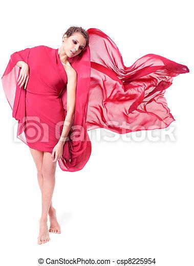 bonito, voando, mulher, vestido, vermelho - csp8225954