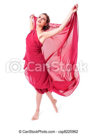 bonito, voando, mulher, vestido, vermelho - csp8225962