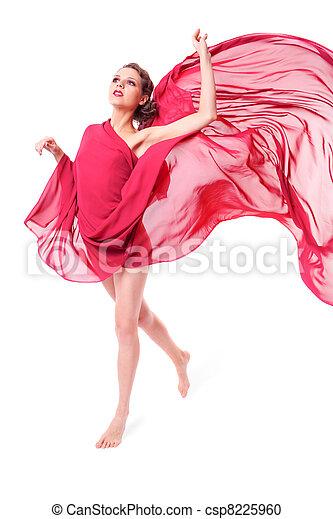bonito, voando, mulher, vestido, vermelho - csp8225960