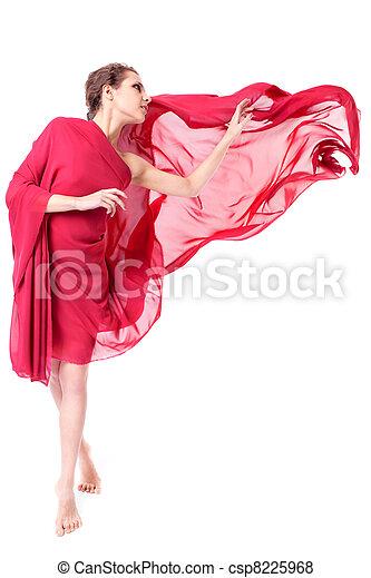bonito, voando, mulher, vestido, vermelho - csp8225968