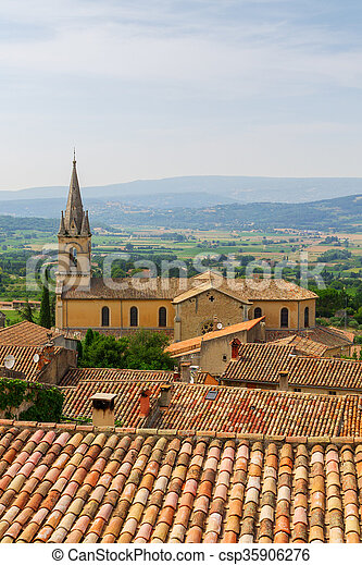 Bonnieux charming old small village and church the Provence region - csp35906276