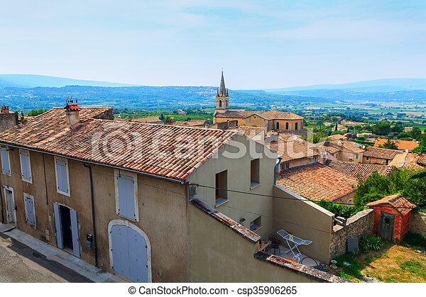 Bonnieux charming old small village and church the Provence region - csp35906265