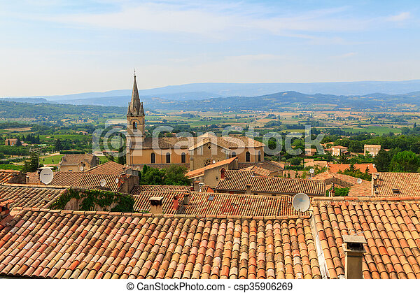 Bonnieux charming old small village and church the Provence region - csp35906269