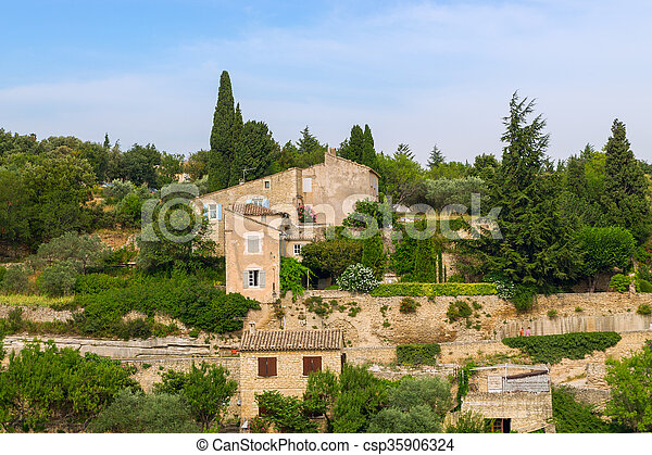 Bonnieux charming old small village and church the Provence region - csp35906324