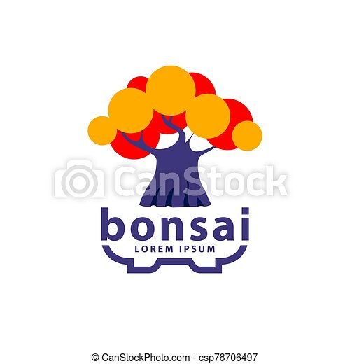 Bonsai Tree And Bonsai Pot Logo Concept Abstract Autumn Tree Icon For Hokidachi Bonsai Style Illustration Bonsai Tree And Canstock