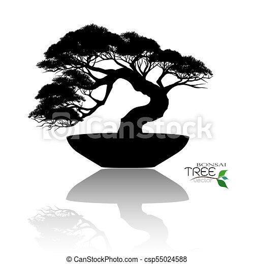 Bonsai Tree Black Silhouette Of Bonsai Japanese Bonsai Tree Plant Silhouette Icons On White Background Black Silhouette Canstock