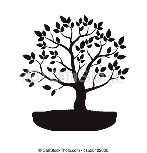Bonsai Tree Illustration Black Bonsai Tree Vector Illustration Canstock
