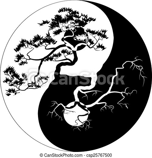 bonsai yang yin bonsai symbole yin arbre yang noir clipart vectoriel rechercher. Black Bedroom Furniture Sets. Home Design Ideas