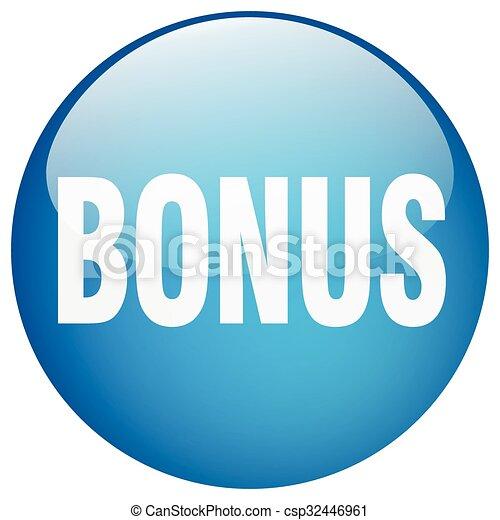 bonus blue round gel isolated push button - csp32446961