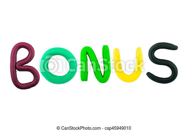 Bonus , clay on white the background - csp45949010