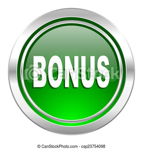 bonus icon, green button - csp23754098
