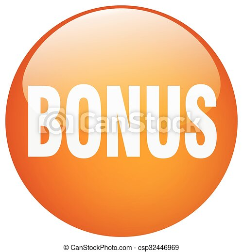 bonus orange round gel isolated push button - csp32446969