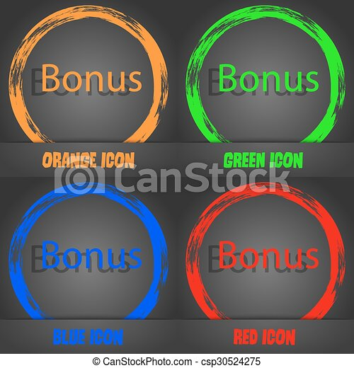 Bonus sign icon. Special offer label. Fashionable modern style. In the orange, green, blue, red design. Vector - csp30524275