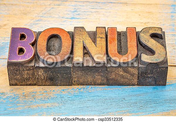 bonus word in letterpress wood type - csp33512335