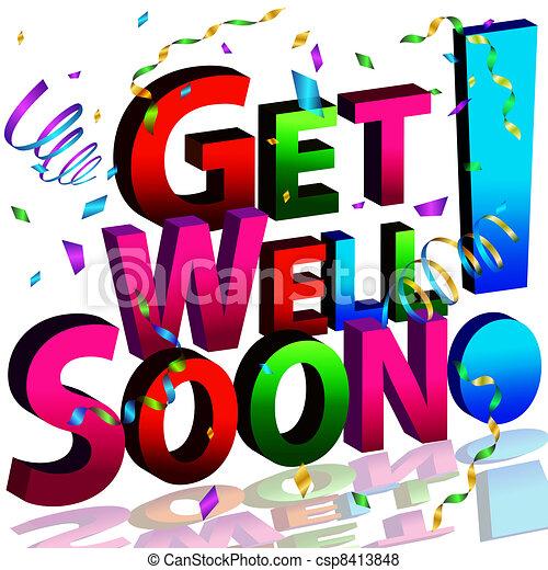 boodschap, goed, spoedig, krijgen - csp8413848