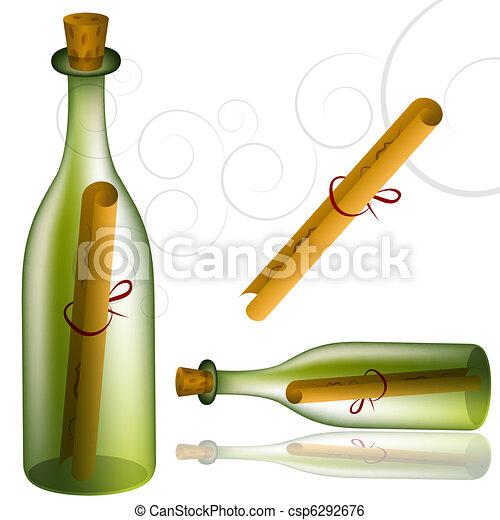 boodschap, set, fles - csp6292676