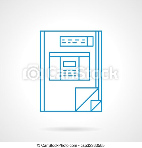 Book Accounting Blue Flat Line Vector Icon