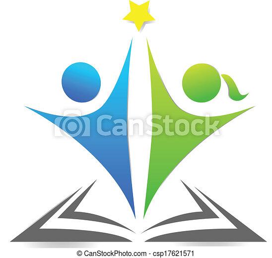 Book and children graphic logo - csp17621571
