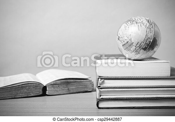 book and earth ball black and white color tone style - csp29442887