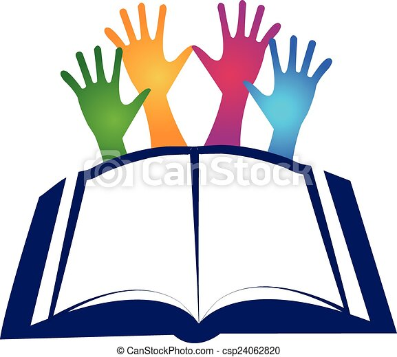 Book and hands logo - csp24062820