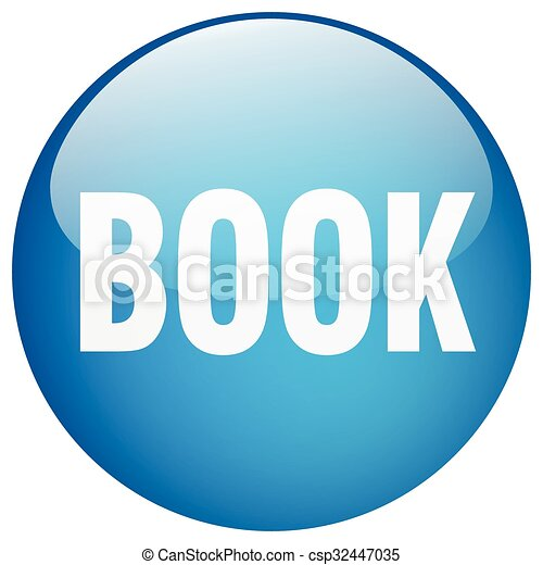 book blue round gel isolated push button - csp32447035