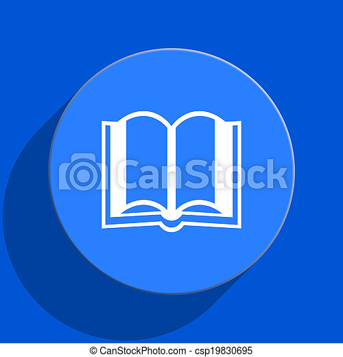 book blue web flat icon - csp19830695