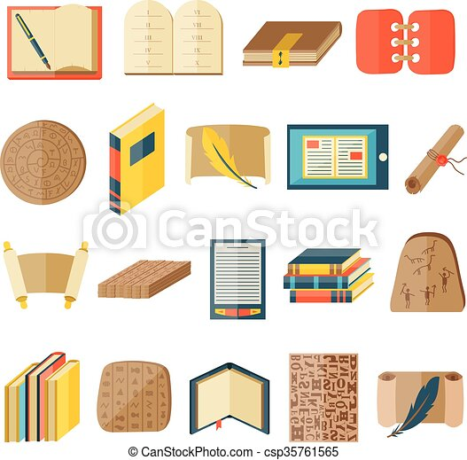Book cartoon icons included normal typography library education state vector. - csp35761565