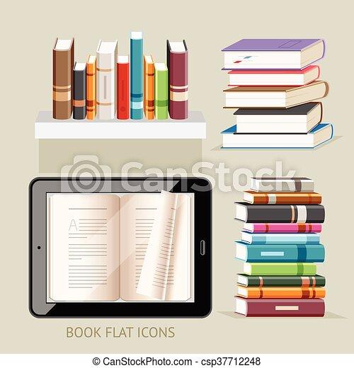 Book Flat Icons Set. Vector Illustration. - csp37712248