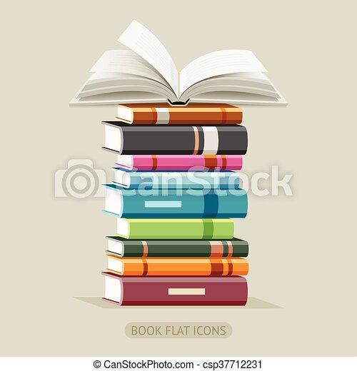 Book Flat Icons set. Vector - csp37712231