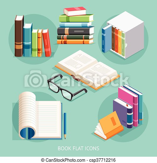 Book Flat Icons set. Vector Illustration. - csp37712216