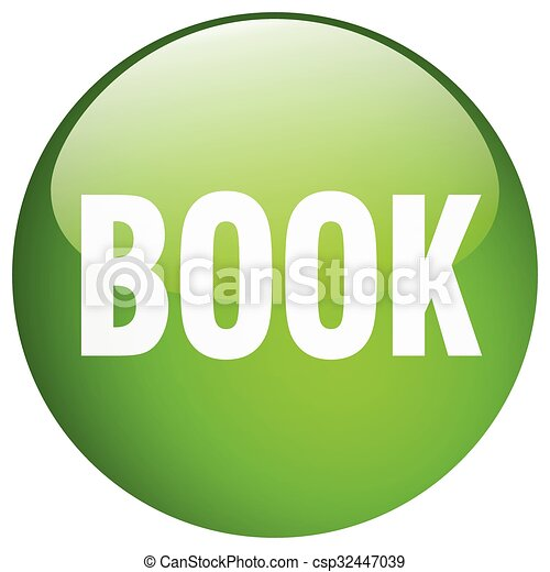 book green round gel isolated push button - csp32447039