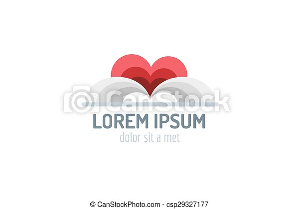 Book heart template logo icon. Back to school. Education, university, college symbol or knowledge, books stack, publish, page paper. Design element. Isolated on white. - csp29327177
