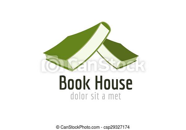 Book house roof template logo icon. Back to school. Education, university, college symbol or knowledge, books stack, publish, page paper. Design element. Isolated on white. - csp29327174