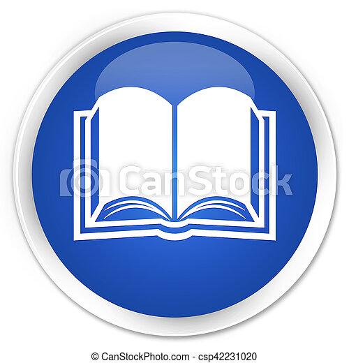 Book icon blue glossy round button - csp42231020