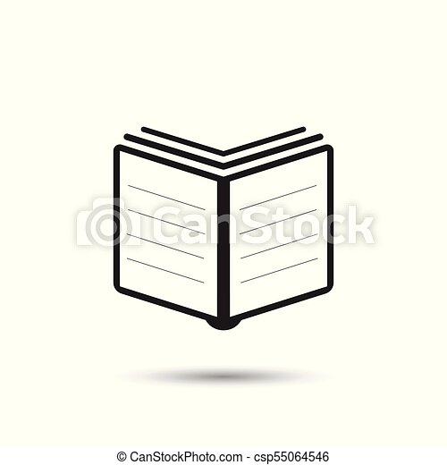 Book icon. Flat vector illustration. Book sign symbol with shadow on white background. - csp55064546