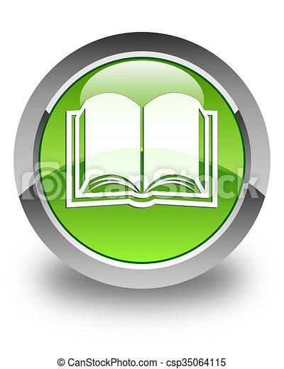 Book icon glossy green round button - csp35064115