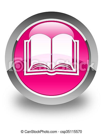 Book icon glossy pink round button - csp35115570