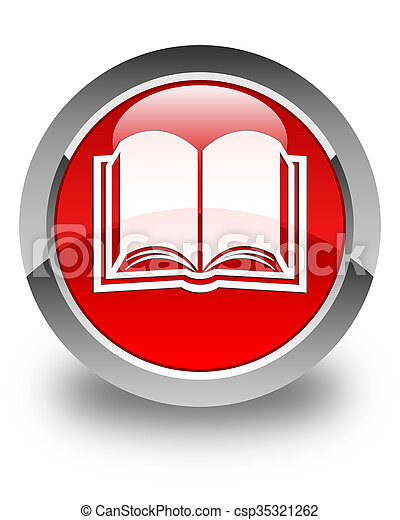 Book icon glossy red round button - csp35321262