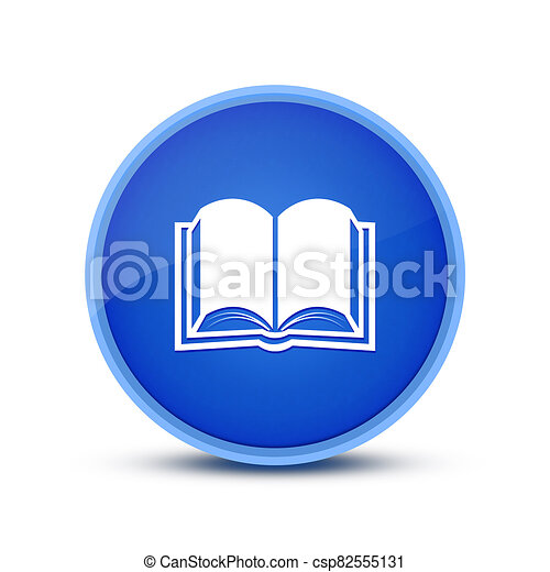 Book icon isolated on glassy blue round button abstract - csp82555131