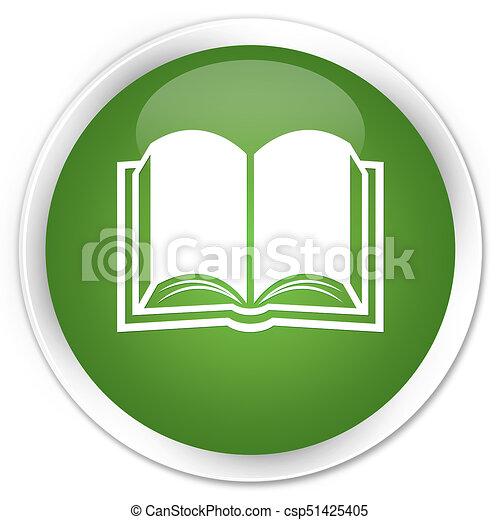 Book icon premium soft green round button - csp51425405