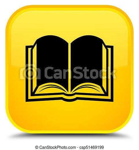 Book icon special yellow square button - csp51469199