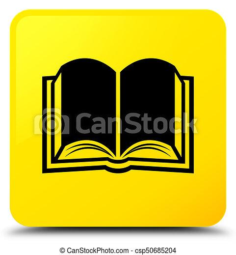 Book icon yellow square button - csp50685204
