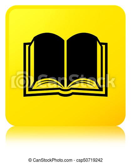 Book icon yellow square button - csp50719242