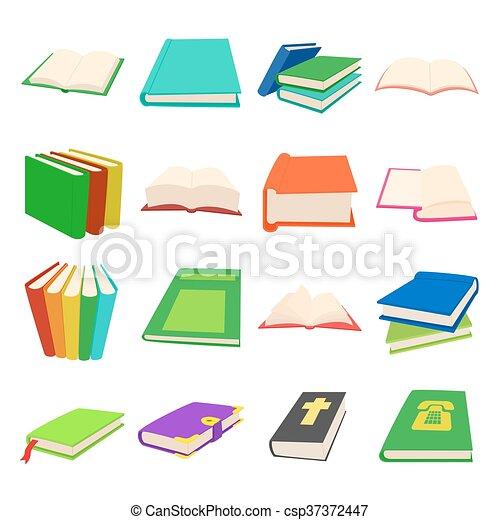 Book icons set, cartoon style - csp37372447