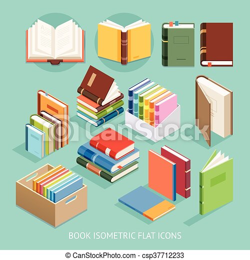 Book Isometric Flat Icons set. Vector Illustration. - csp37712233